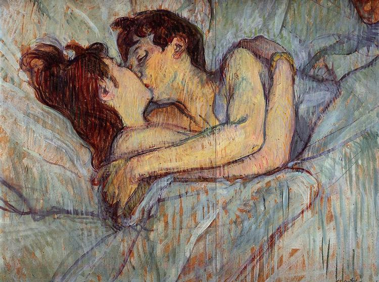 In Bed, The Kiss by Henri Tolouse-Lautrec